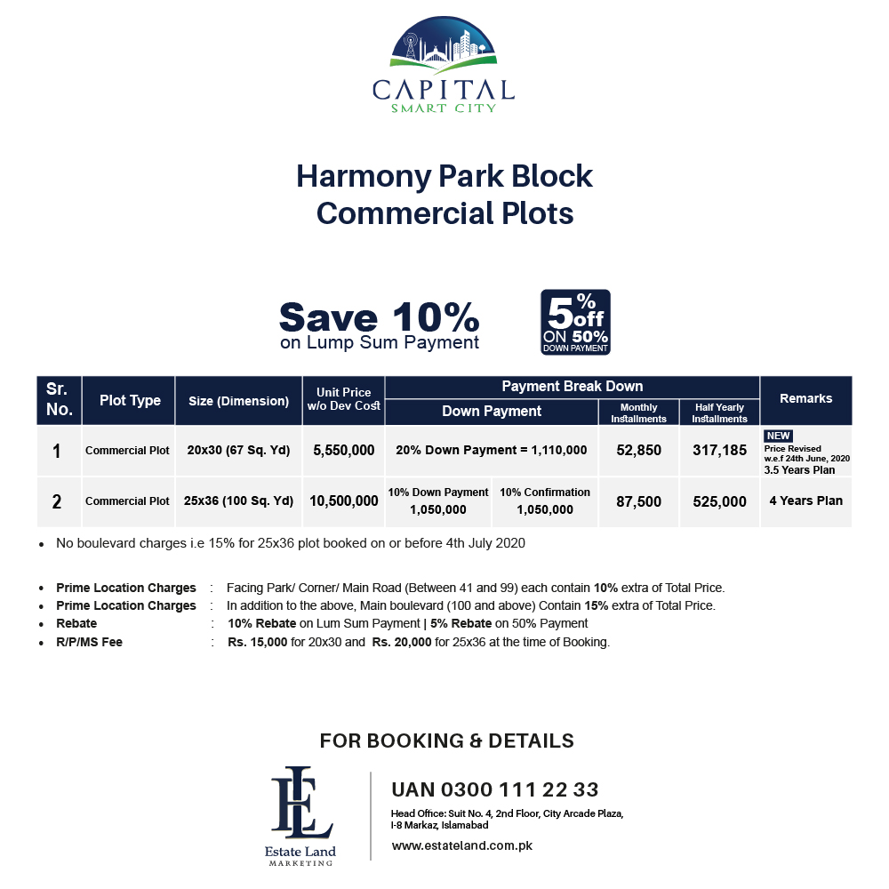 harmony park block commercial payment plan of smart city Islamabad