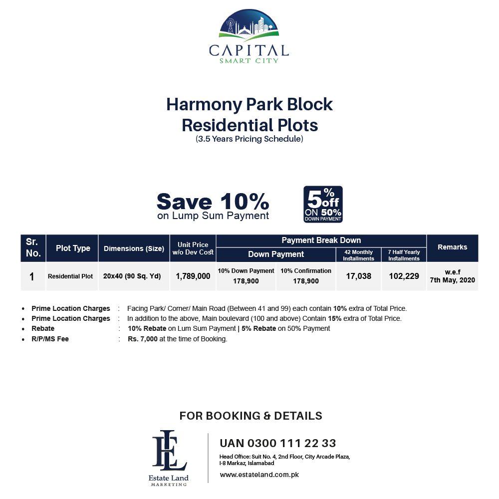 harmony park block residential plot payment plan of smart city Islamabad