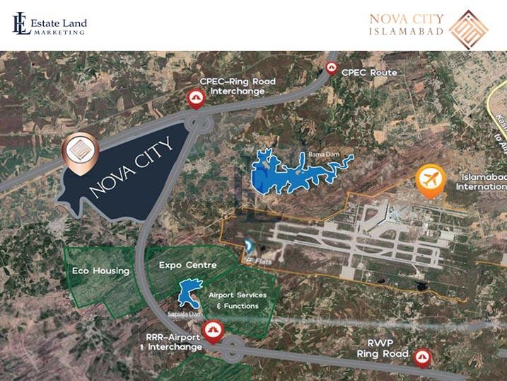 location map of nova city Islamabad