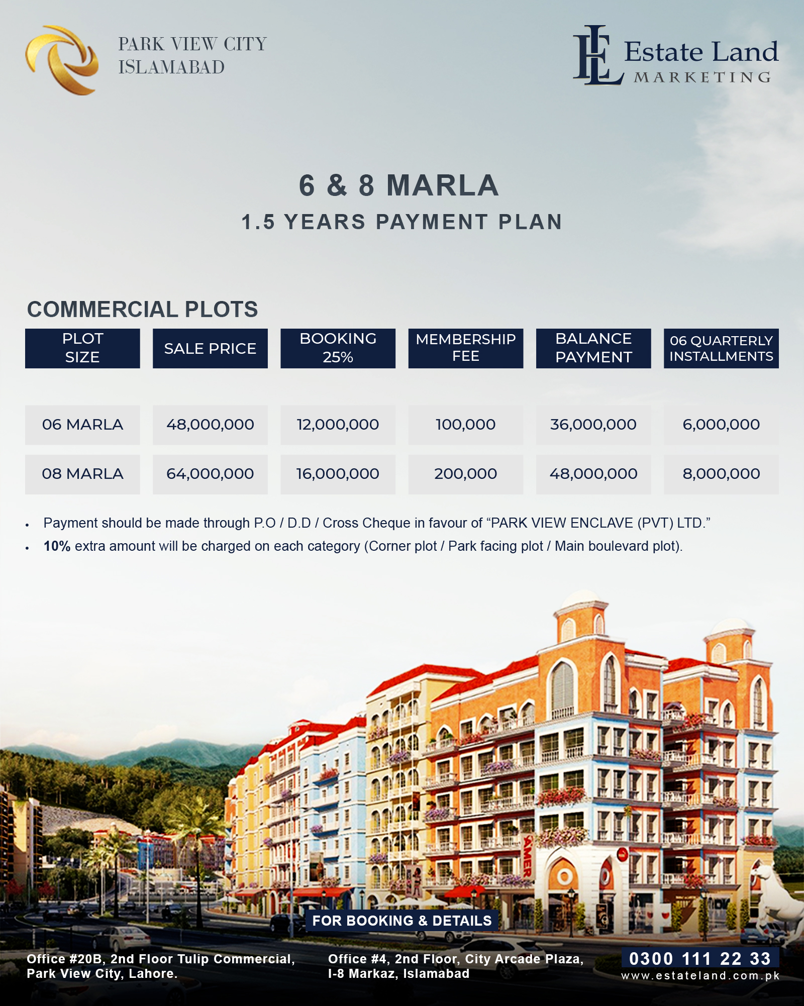Downtown Commercial Payment Plan of Park view city