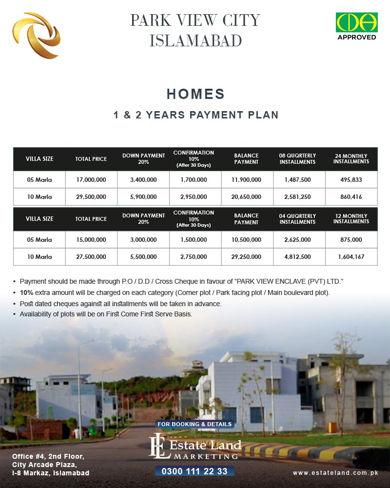 park view homes payment plan