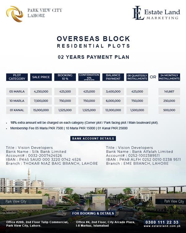 Park view city Lahore Payment Plan