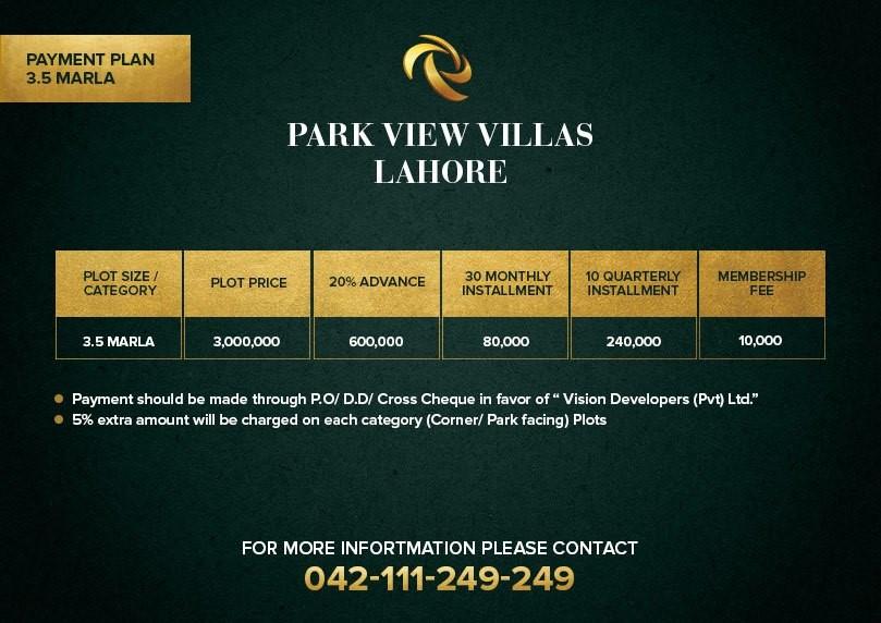 3.5 marla payment plan of park view villas Lahore