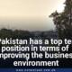 Pakistan ranks top 10 in improvement of business environment
