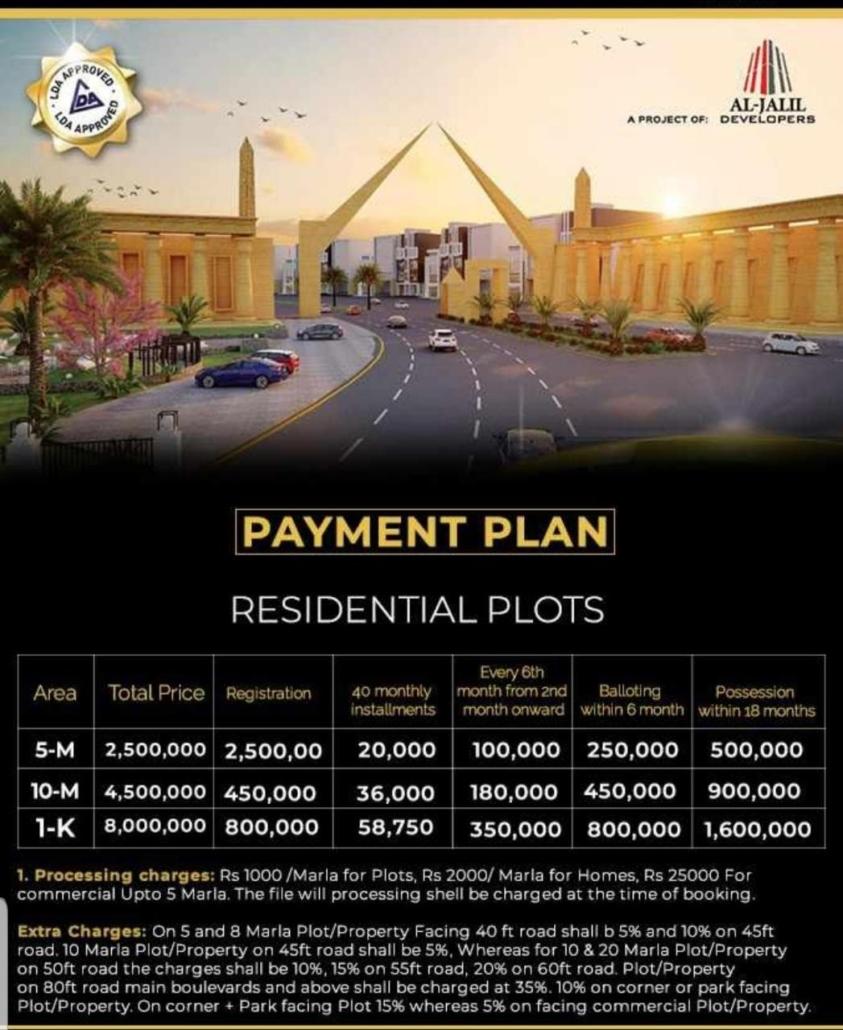 Block-D Payment Plan of Al noor orchard