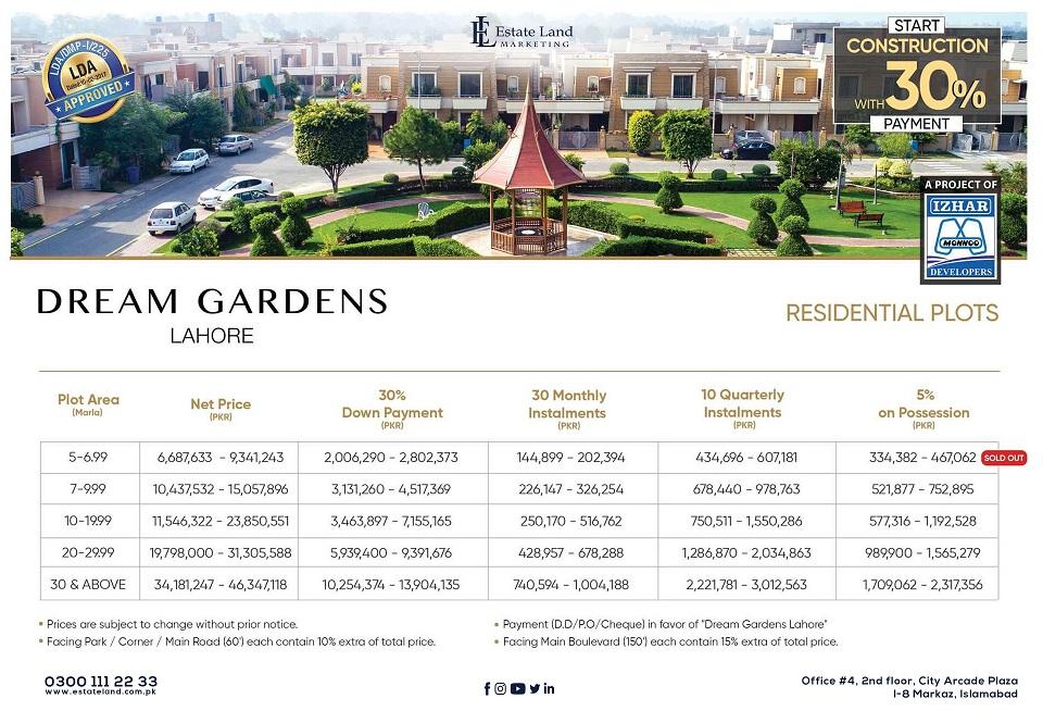 Dream Garden Lahore Residential Plots Payment Plan
