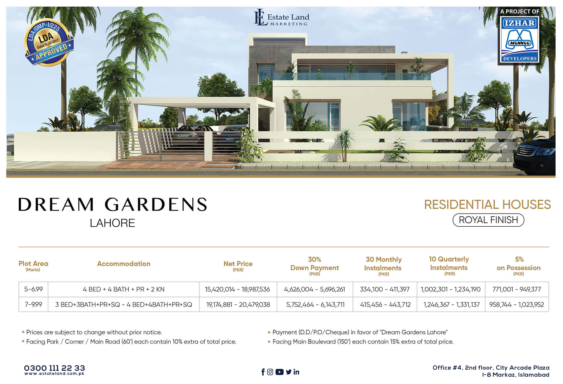 Dream Garden Lahore Residential Houses Payment Plan