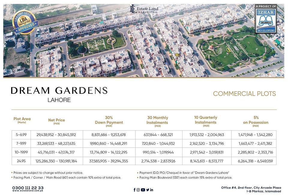 commercial Plots Payment Plan -Dream Garden Lahore