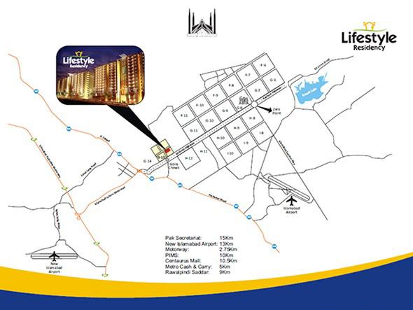 Lifestyle Residency Islamabad location map