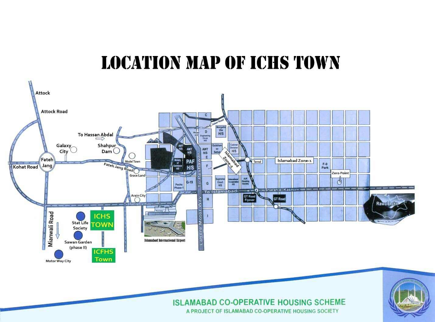 location map of ICHS Town Islamabad