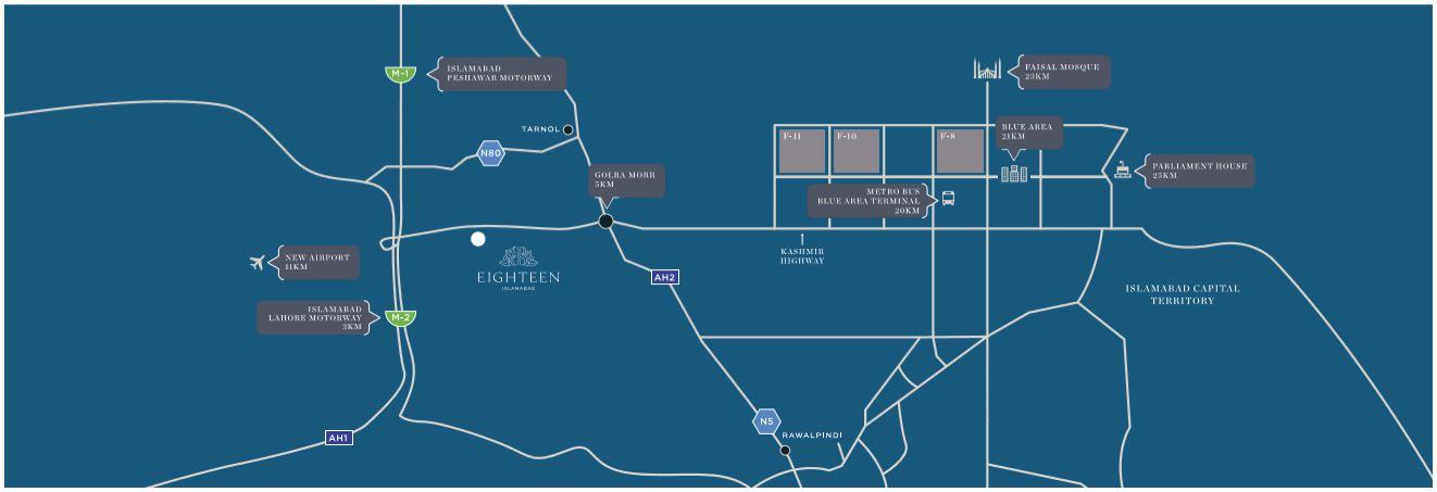 location map of Eighteen Islamabad