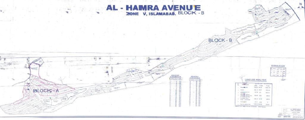 master plan of Al-Hamra Avenue Islamabad