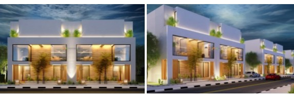 villas elevation in Bahria Greens homes Karachi