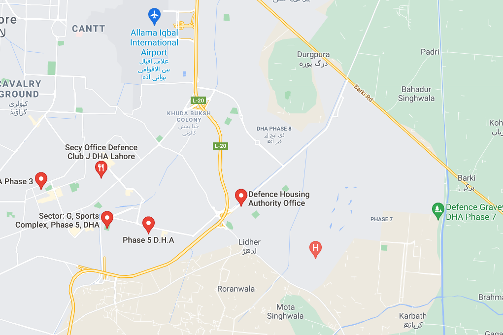 dha lahore location map