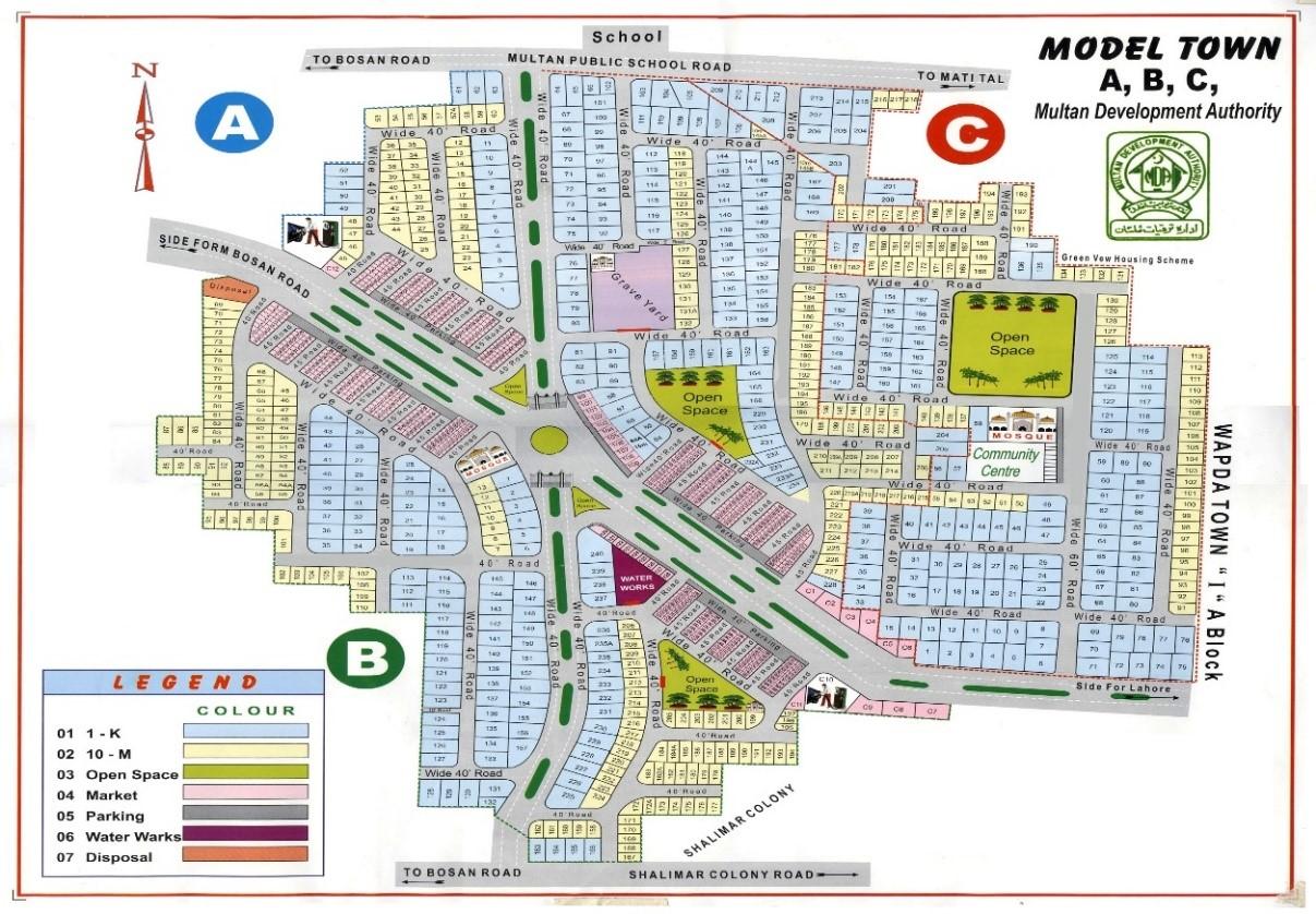 master plan of Model Town Multan