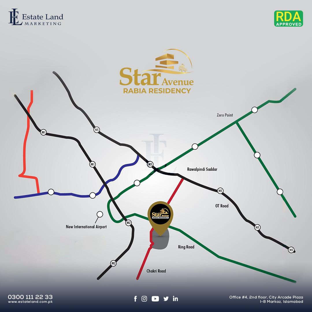 STAR AVENUE - RABIA RESIDENCY location map