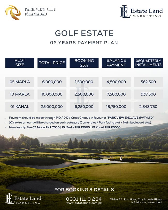 new payment plan Golf Estate Park view city