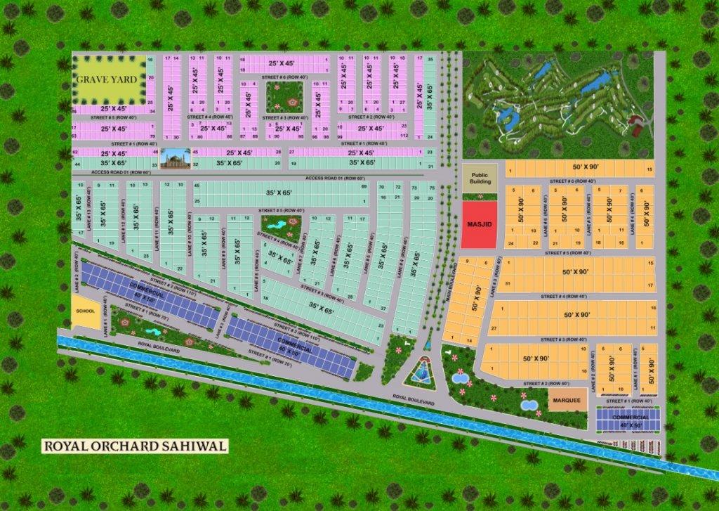 master plan of Royal Orchard Sahiwal