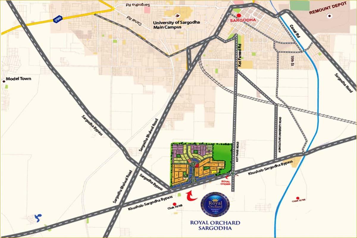 Royal Orchard Sargodha location map