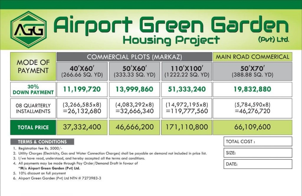 Airport Green Garden Islamabad commercial payment plan