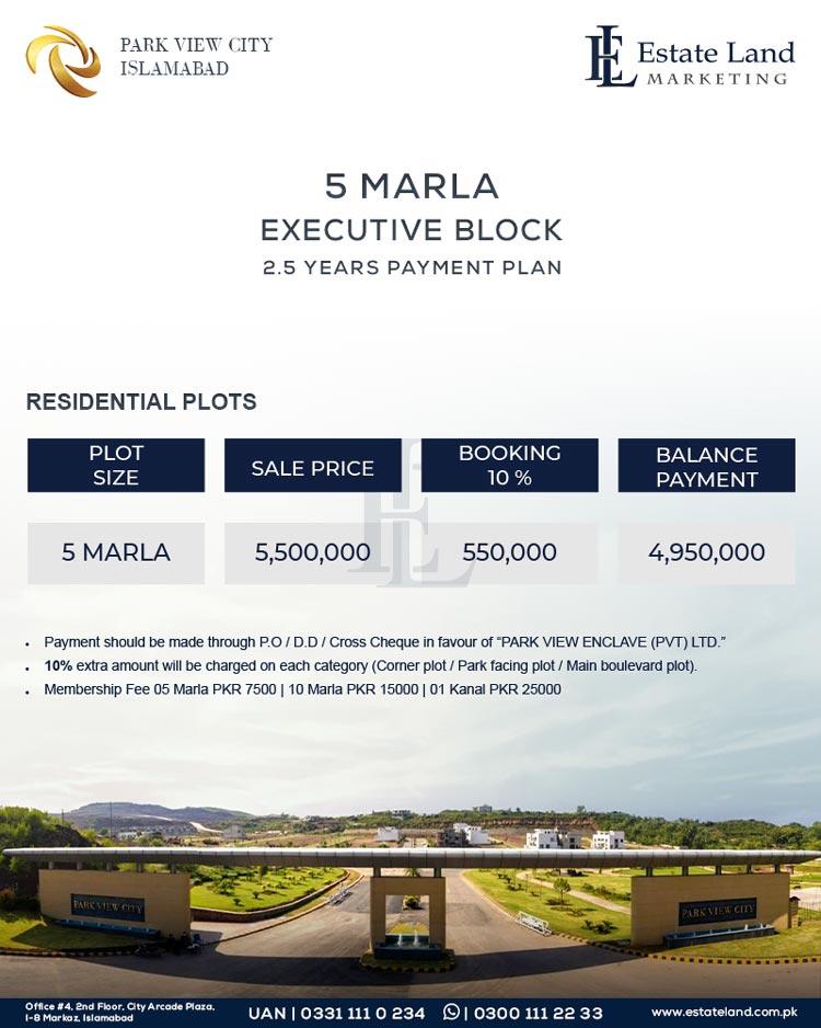 Park View City Islamabad Executive block 5 Marla payment plan
