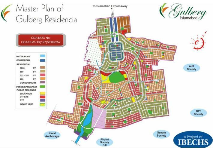 Master Plan of Gulberg Greens Islamabad