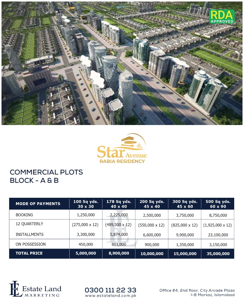 commercial plots payment plan of Star Avenue-Rabia Residencia