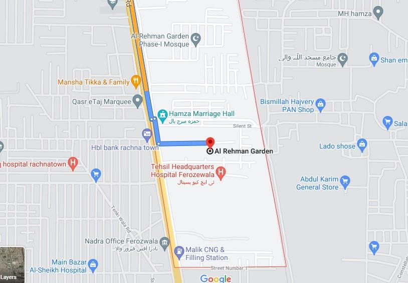 Al Rehman Garden Lahore location map