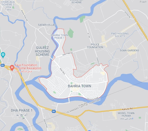 Bahria Town Islamabad location map