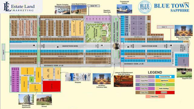 Master Plan Blue Town Sapphire housing society in lahore