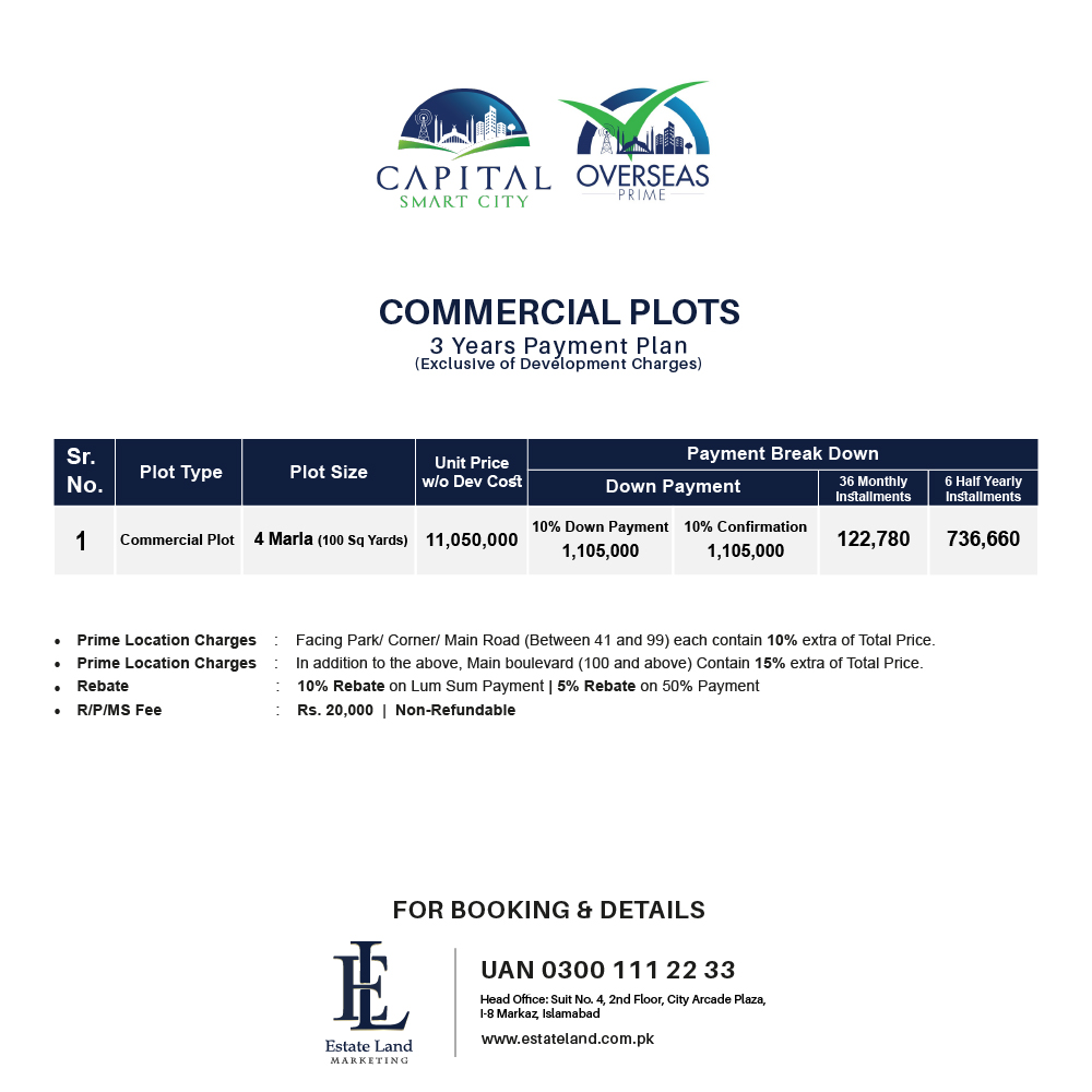 Capital Smart City commercial payment plan on installment