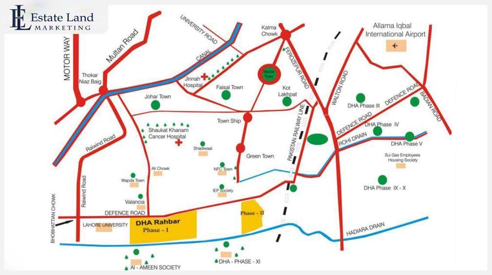 DHA Rahbar Lahore Location Map