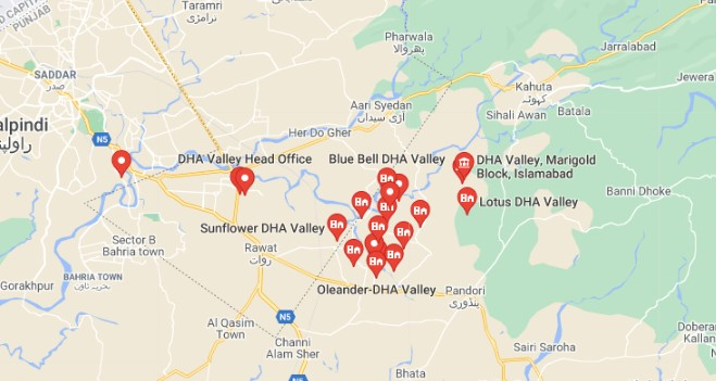 DHA Valley Location Map Islamabad
