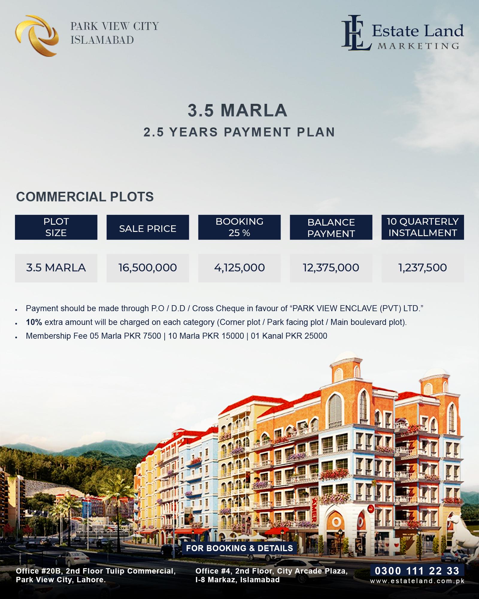Park View City 3.5 marla commercial plot on installment