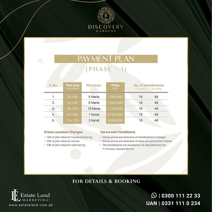 phase 1 payment plan of discovery garden Islamabad