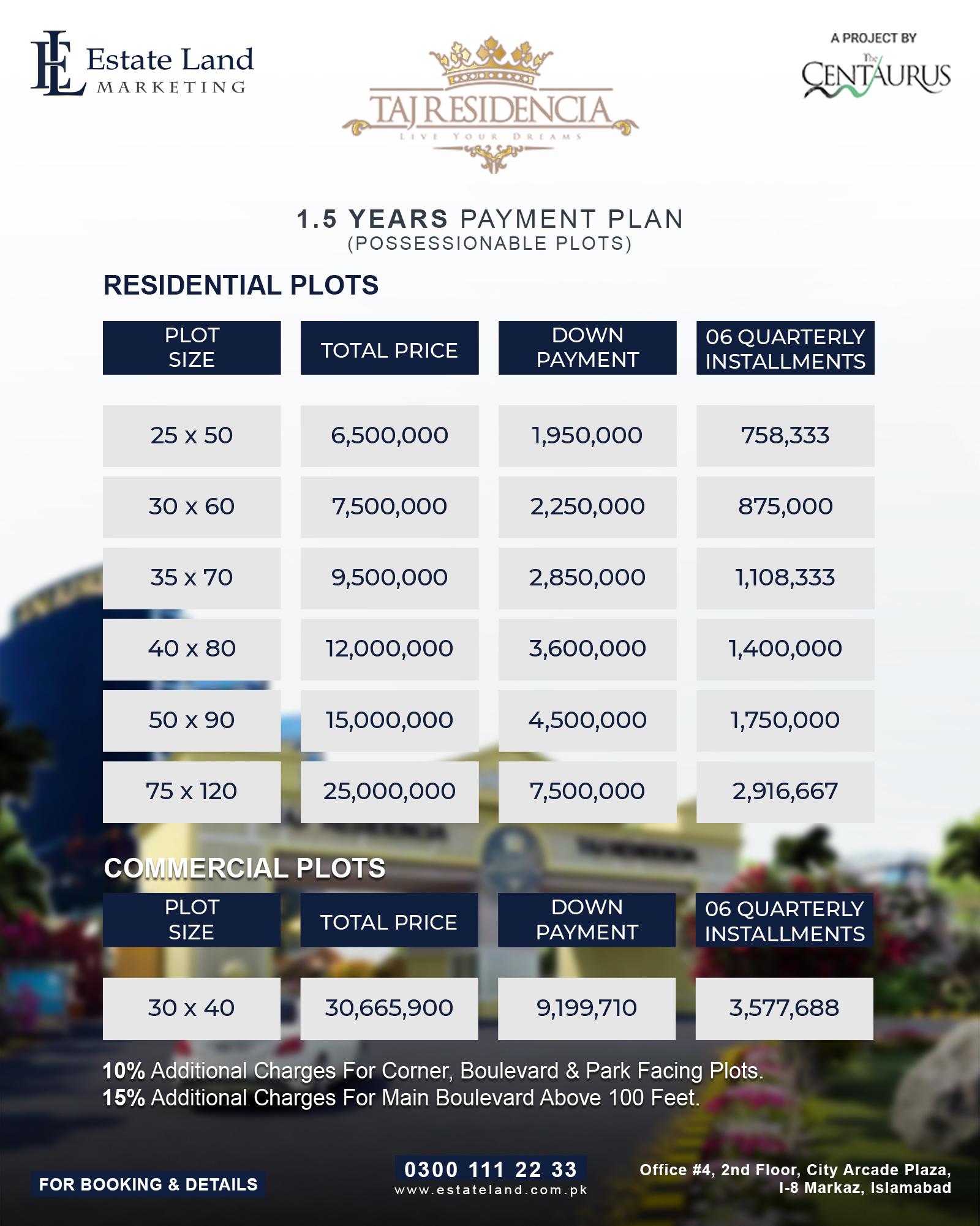 Taj residencia 1.5 year installment prices