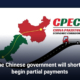 The Chinese government will shortly begin partial payments