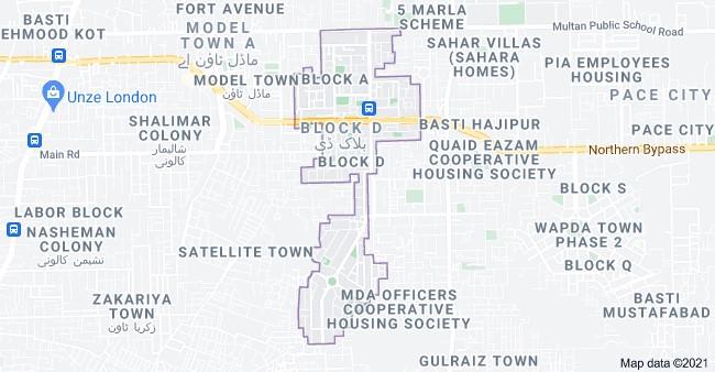 Phase 1 location map of Wapda Town Multan
