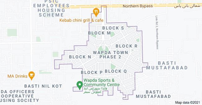 Phase 2 location map of Wapda Town Multan