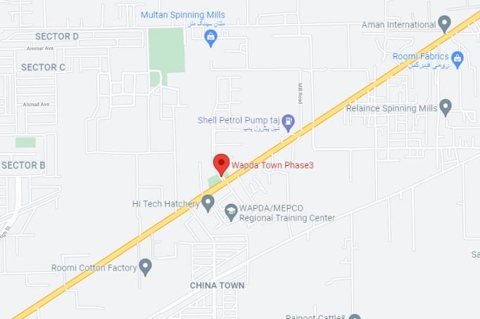 Phase 3 location map of Wapda Town Multan