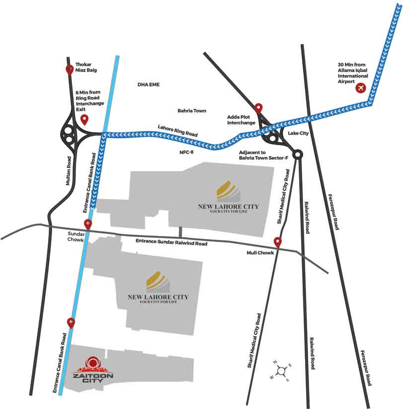 Location Map of Zaitoon City