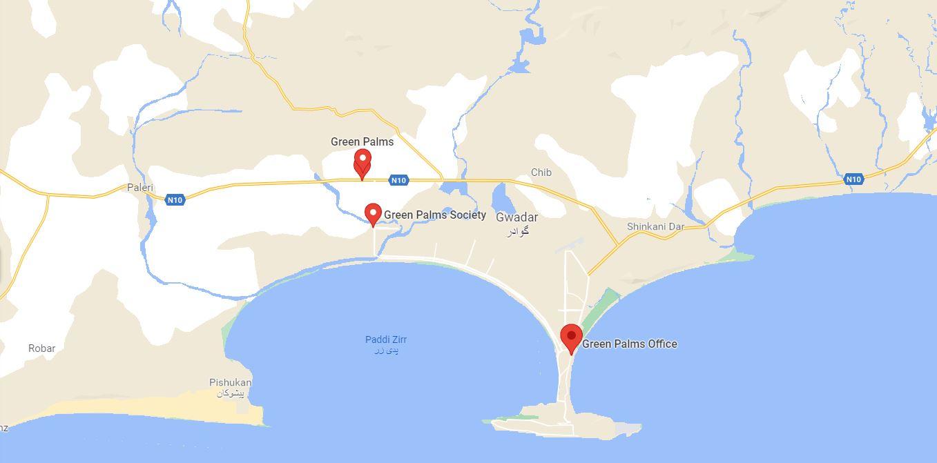 green palm gwadar location map