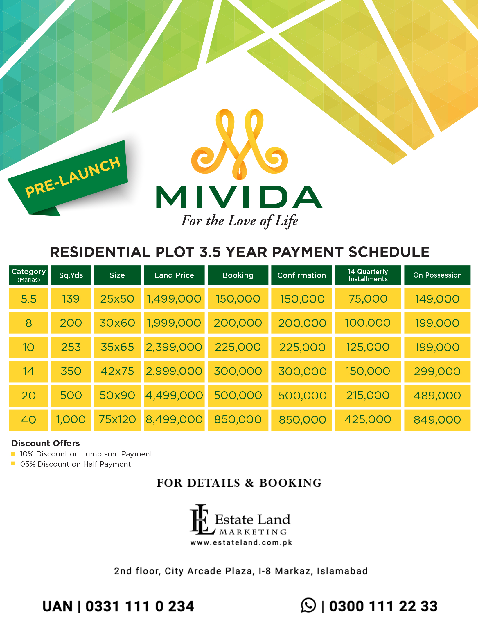 pre launch payment plan of mivida Islamabad