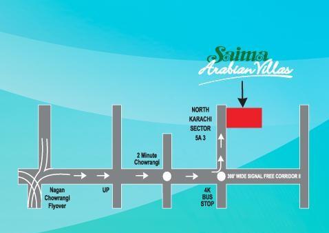 Saima Arabian Villas Karachi Location Map