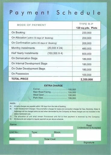 Payment Schedule Saima Arabian Villas Housing Society in Karachi