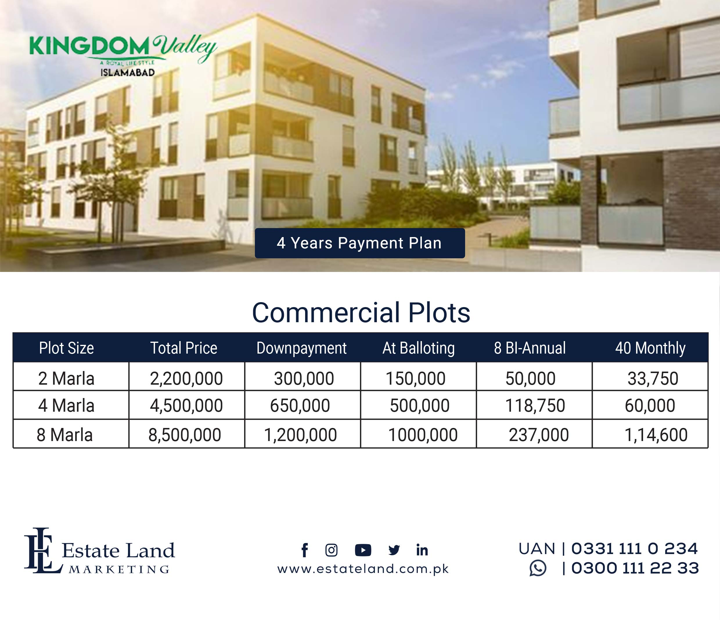 Commercial Payment Plan Kingdom Valley Islamabad