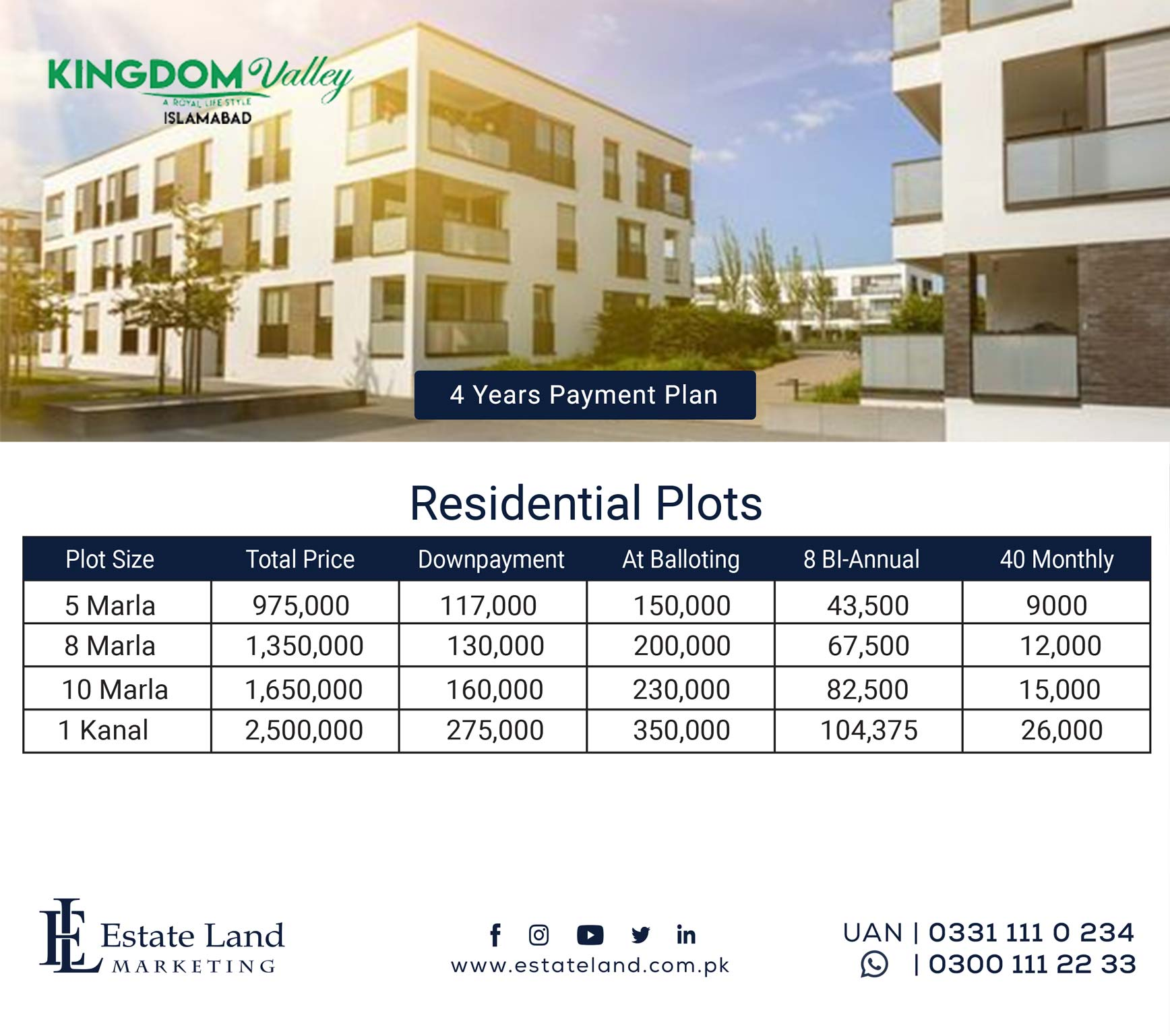 Invest in Kingdom Valley residential plots payment plan